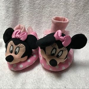 Disney Minnie Mouse Pink White Polka Dots Slippers